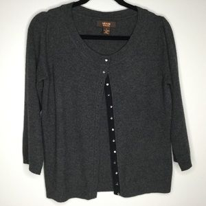 Victor Cashmere Sweater Charcoal Grey Size Small